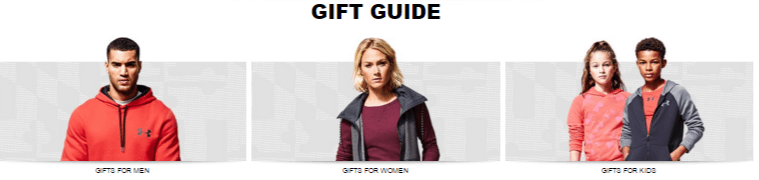 Gift guide offer at Under Armour