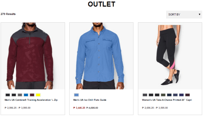 Outlet discounts at Under Armour
