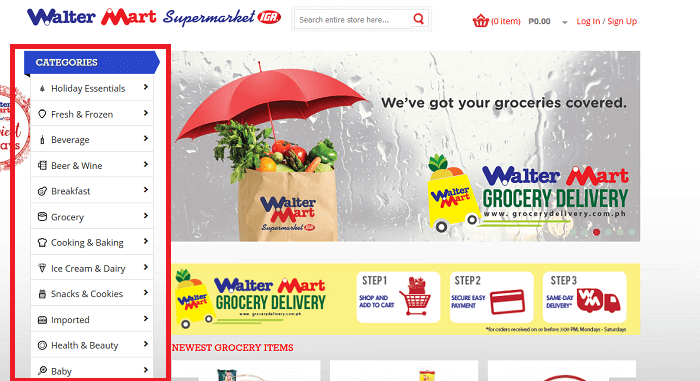 The online shop's categories