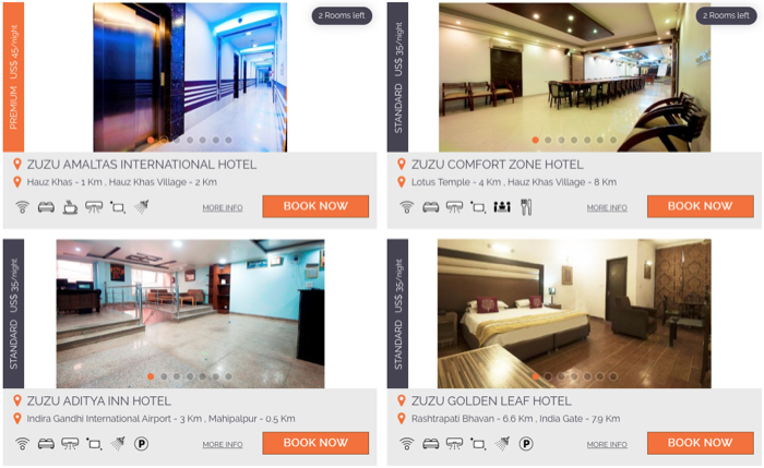 Listing of available rooms