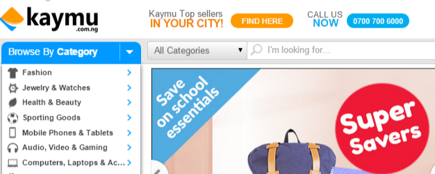 Kaymu shopping categories