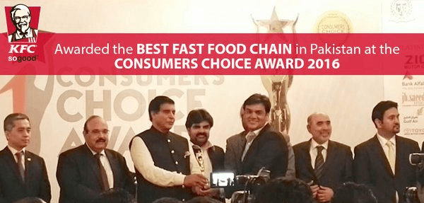 KFC consumer choice award 2016