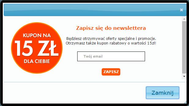 Newsletter - 15 zł do zakupów