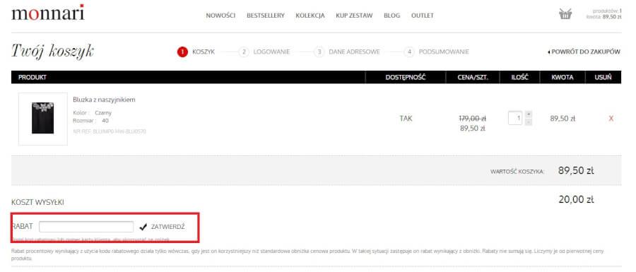 Zakupy w Monnari.pl z kodem rabatowym