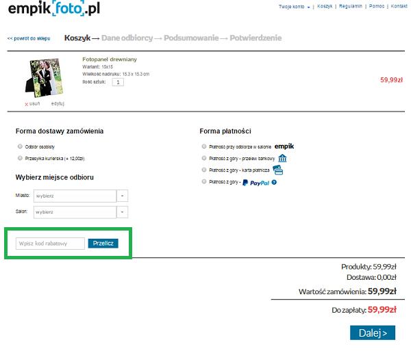 > Jak wykorzystać kod rabatowy na zakupy w Empikfoto.pl