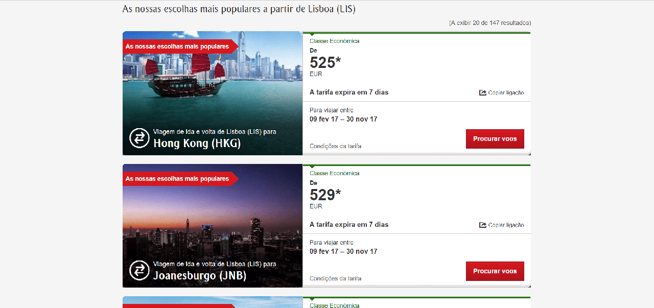 Vários voos da Emirates a partir de Lisboa