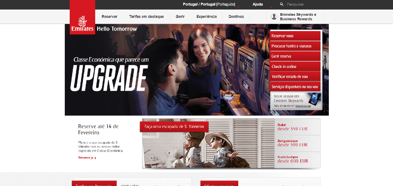 Página inicial do site da Emirates