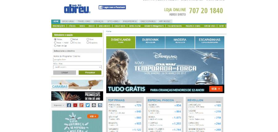 Página inicial do site da Abreu