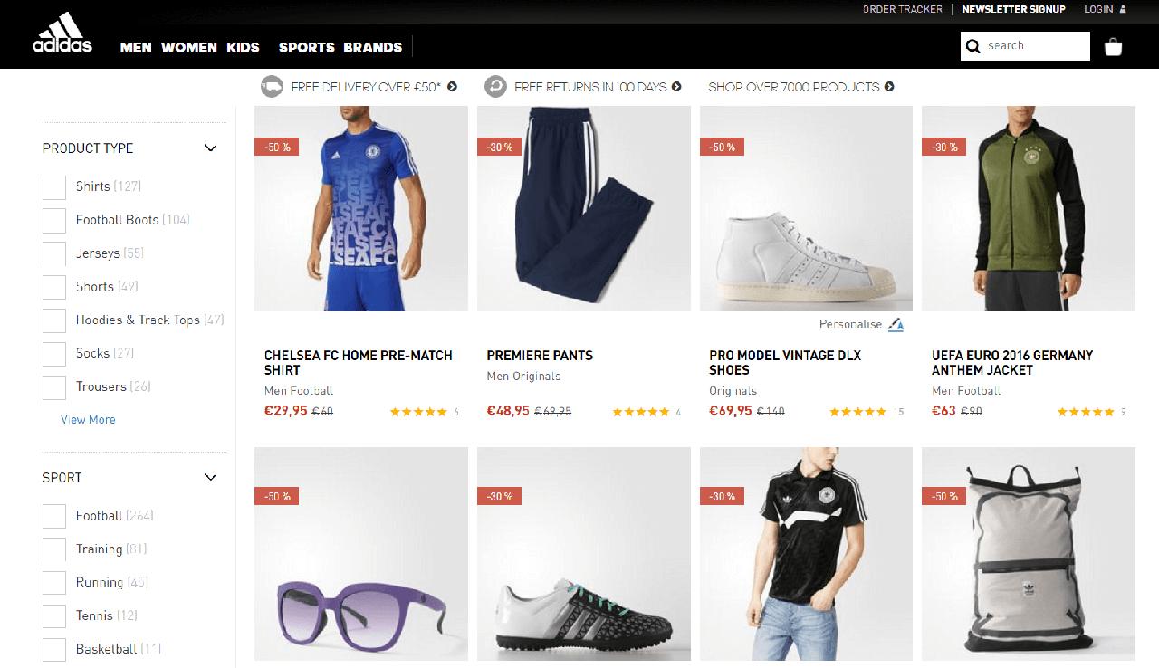 Descontos até 50% em moda masculina Adidas