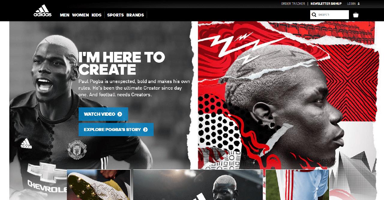 navegar no site da Adidas