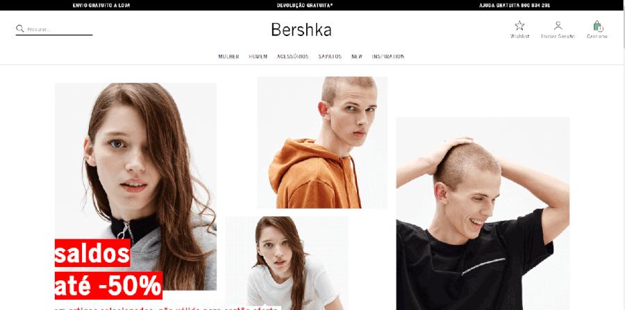Página inicial do site da Bershka