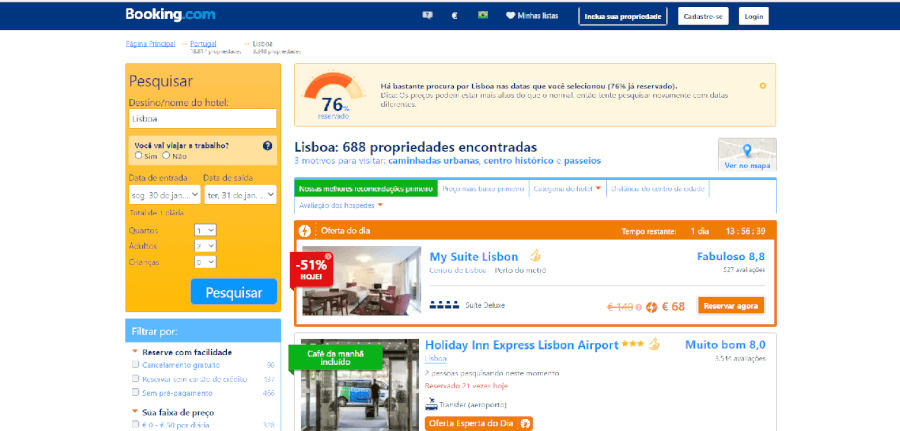 Diversas ofertas do dia no Booking
