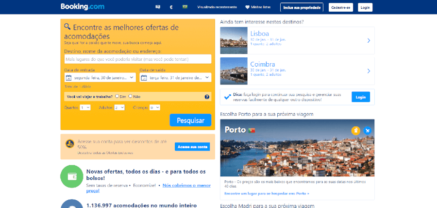 Página inicial do site do Booking