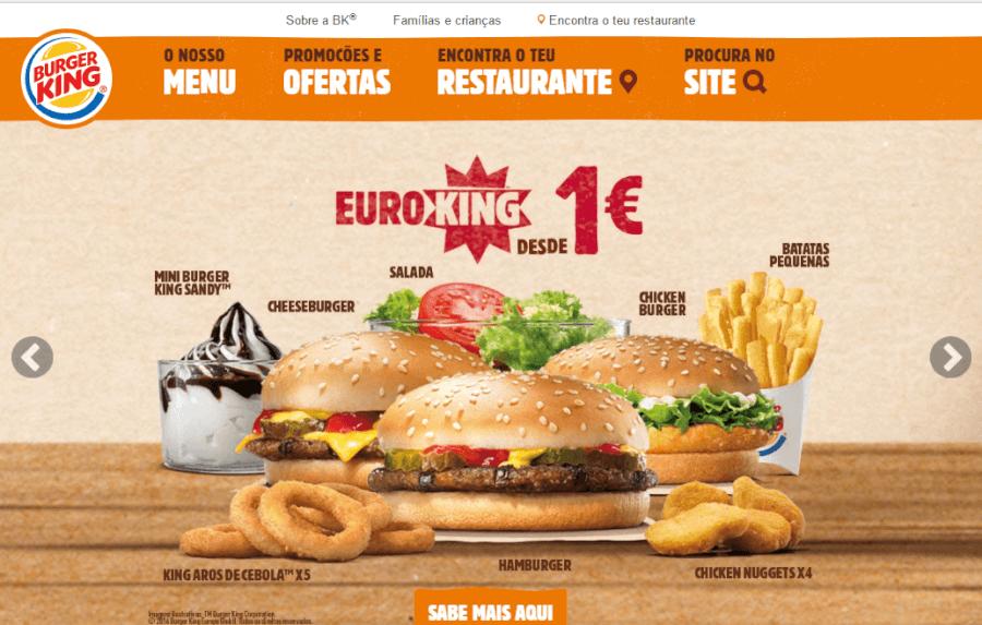 como navegar no site do Burger King