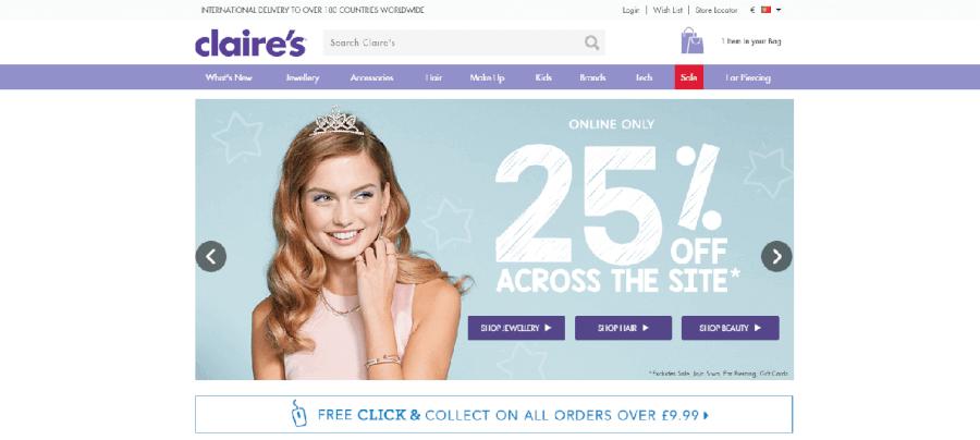 Página inicial do site da Claire's