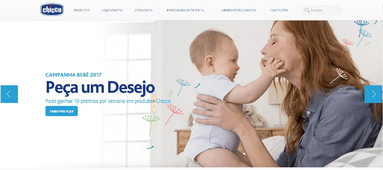 Página inicial do site da Chicco