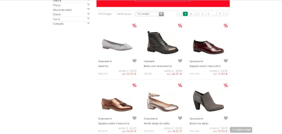 Vários descontos em sapatos de mulher