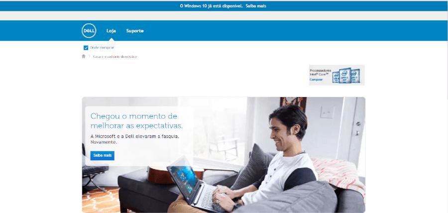 Página inicial do site da Dell