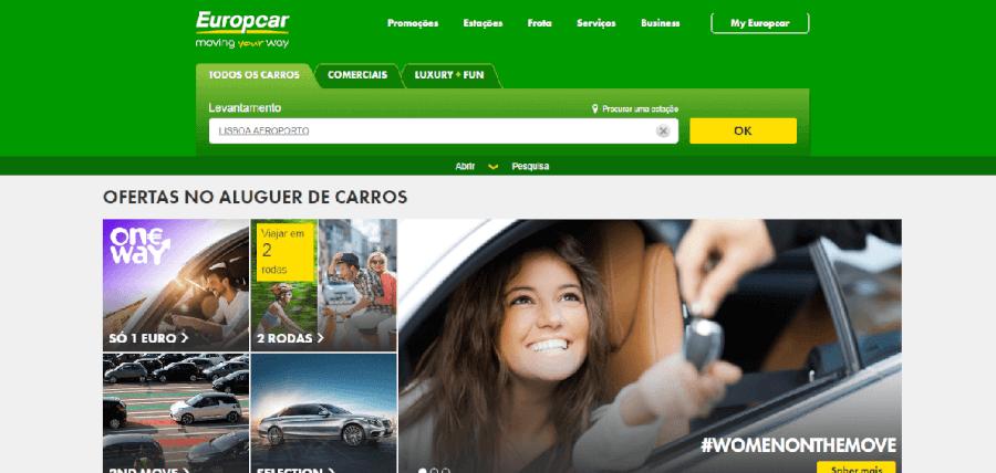 Página inicial do site da Europcar