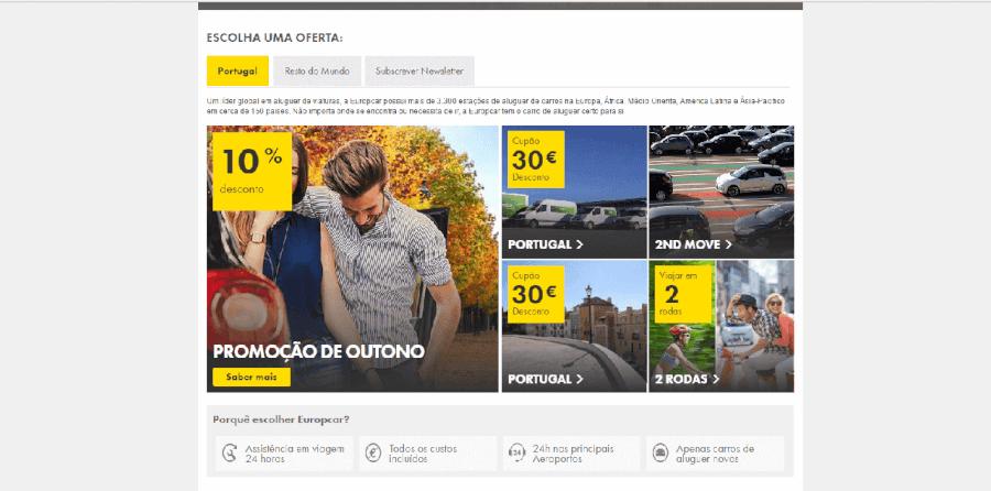 Diversos descontos da Europcar