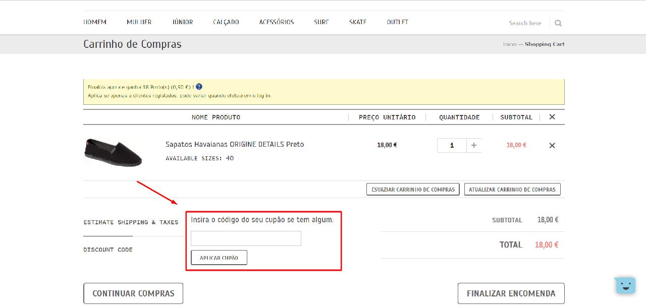 Como aplicar o discount code da Ericeira Surf Shop