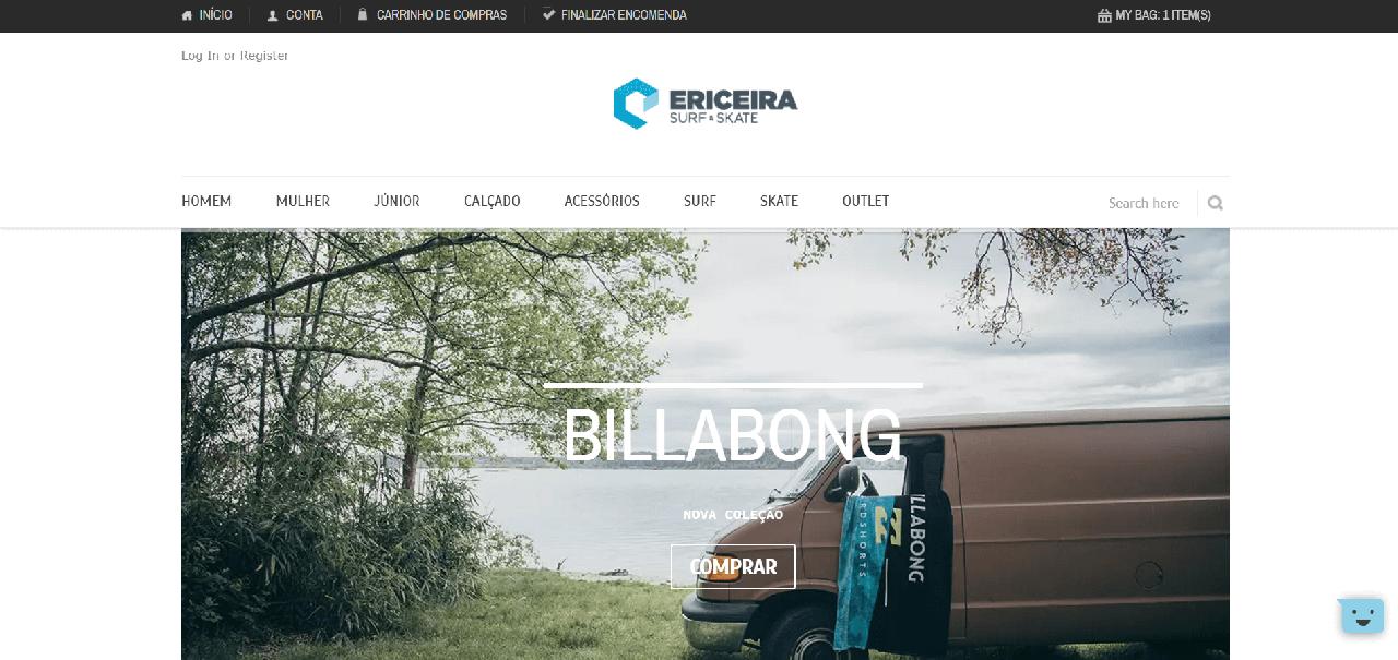Página inicial do site da Ericeira