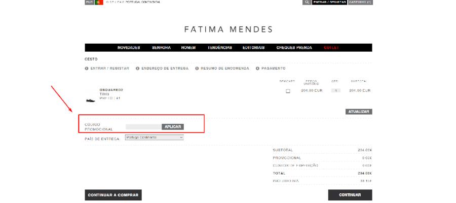 Como aplicar o código promocional Fátima Mendes