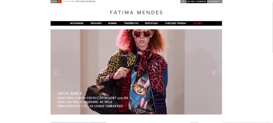 Página inicial do site da Fátima Mendes