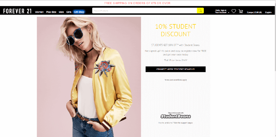 Descontos até 10% para estudantes Forever 21