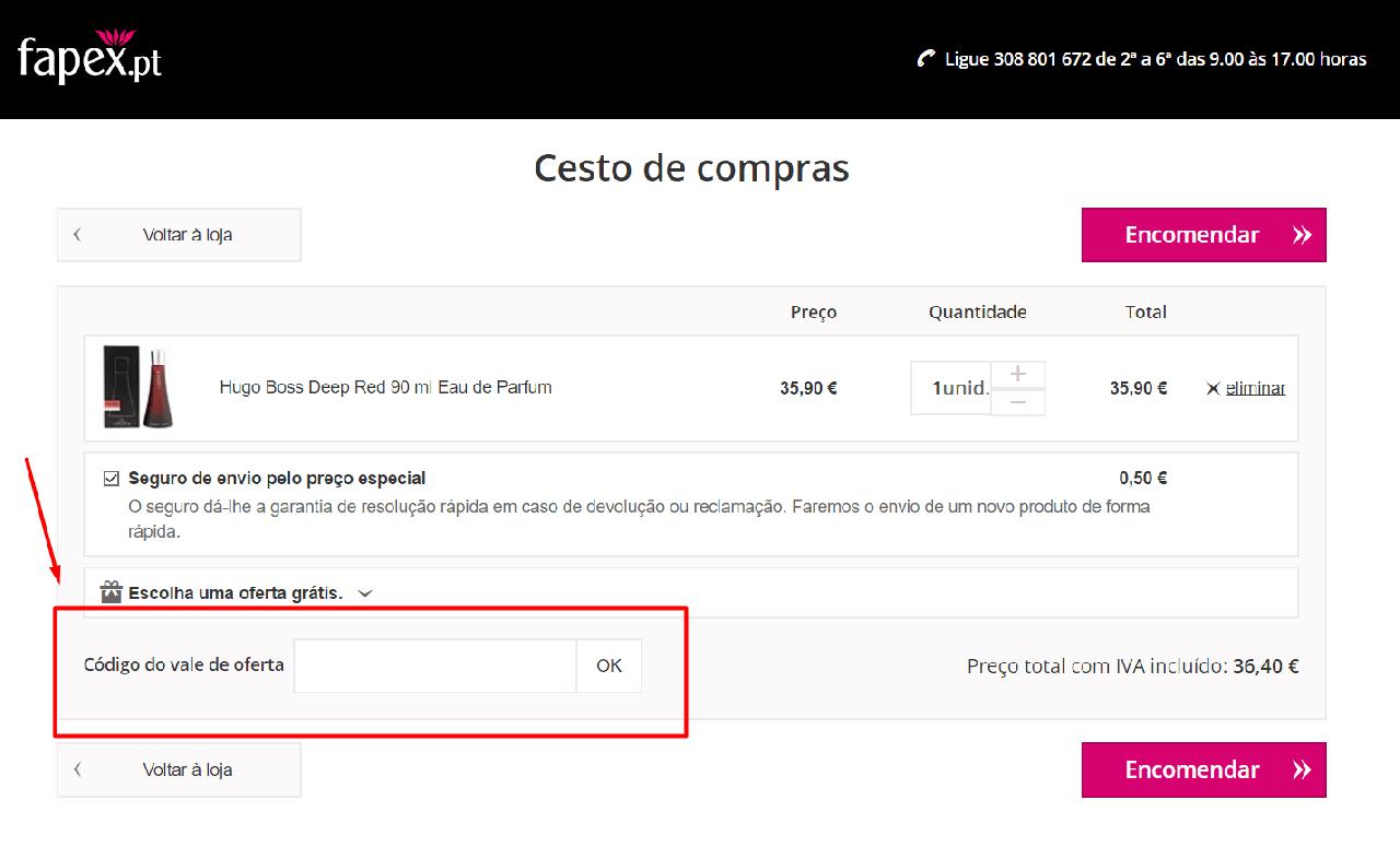 Aplicação do código Promocional Fapex