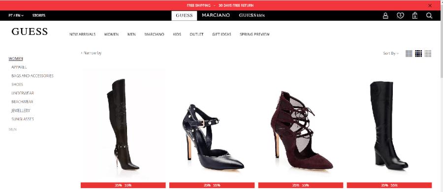 Grandes descontos em vários sapatos femininos