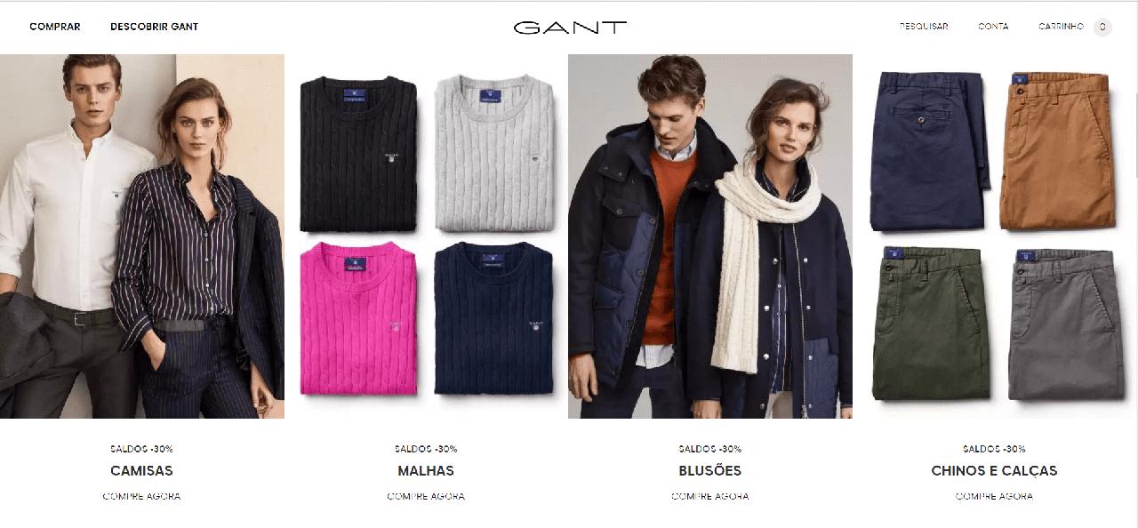 Vários descontos e promoções em moda na Gant