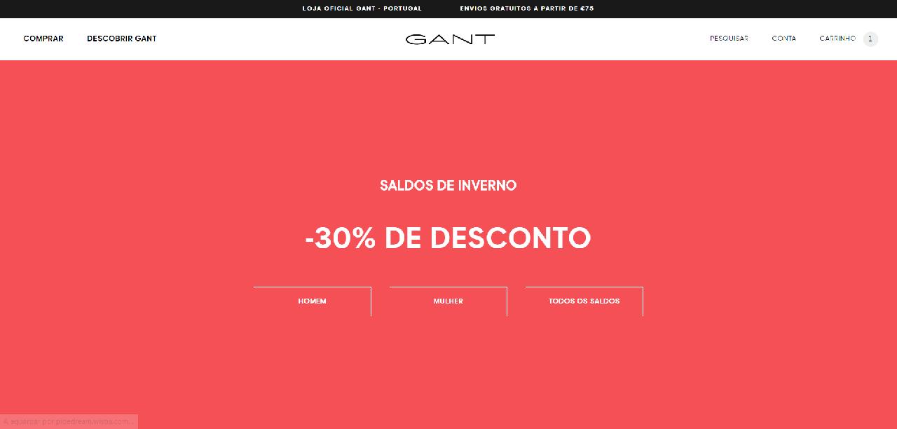 Página inicial do site da Gant