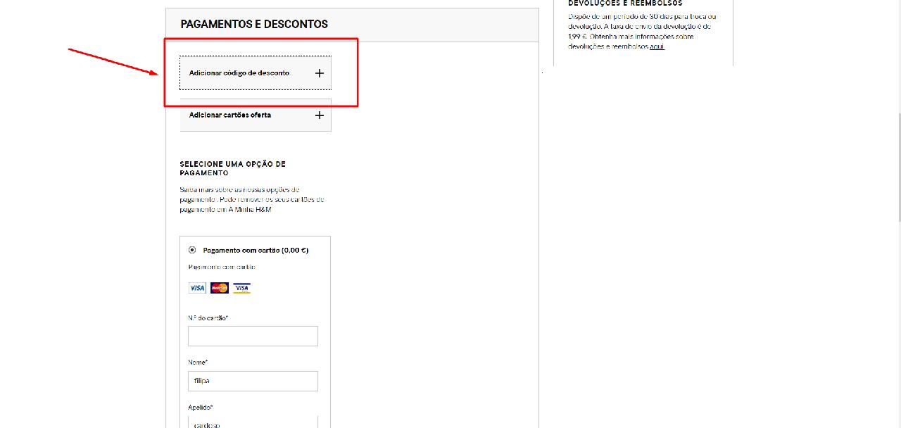 Como aplicar o código de desconto da H&M