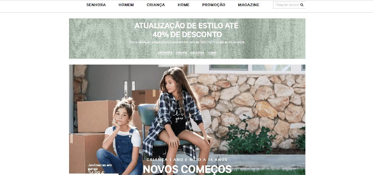 Página inicial do site da H&M