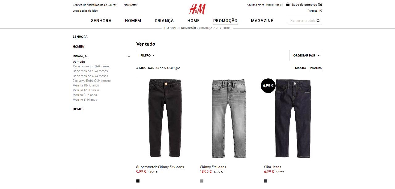 Vários modelos de jeans com descontos na H&M
