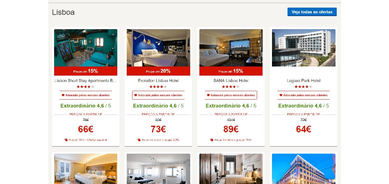 Vários descontos em hotéis de 4 ou 5 estrelas