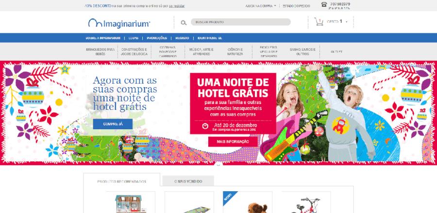 Página inicial do site da Imaginarium