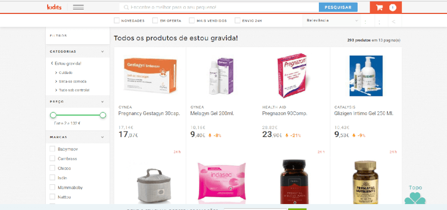 Diversos produtos para grávidas com descontos