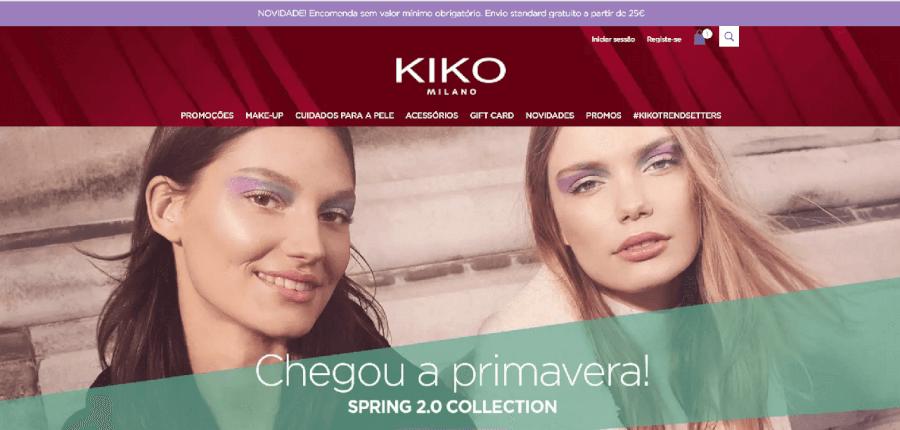 Página inicial do site da Kiko