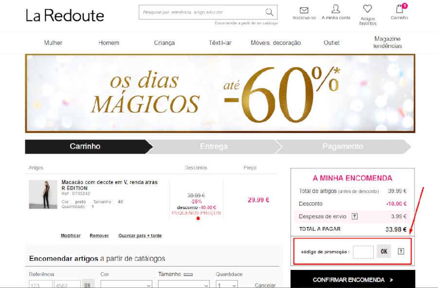Como aplicar o código promocional La Redoute