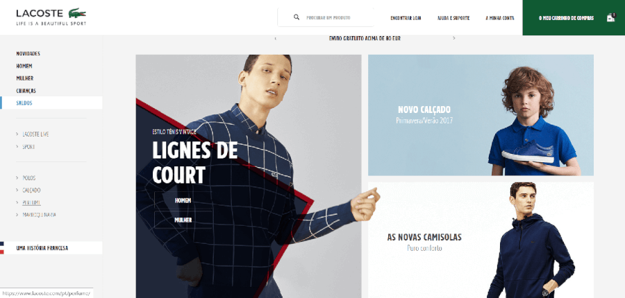 Página inicial do site da Lacoste