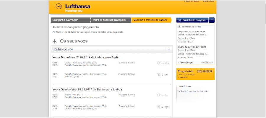 Como usar o carrinho de compras Lufthansa