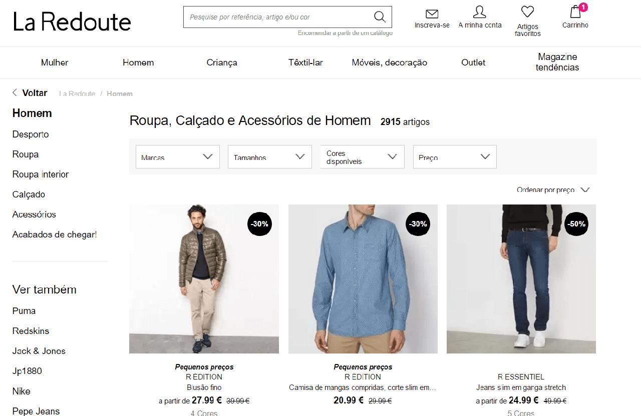 Descontos em moda masculina
