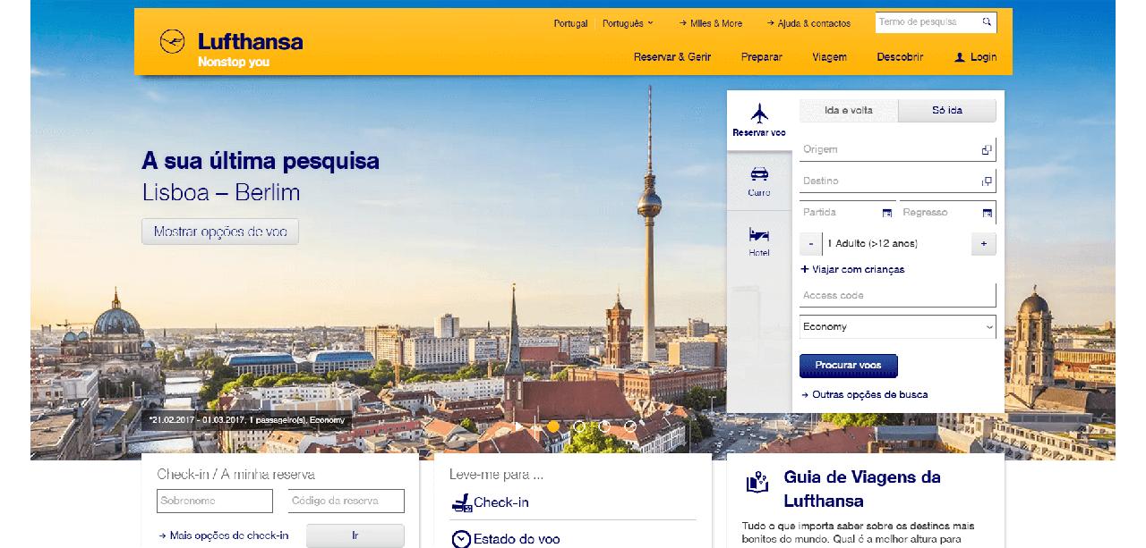 Página inicial do site da Lufthansa