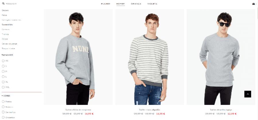 Descontos e promoções em roupa masculina