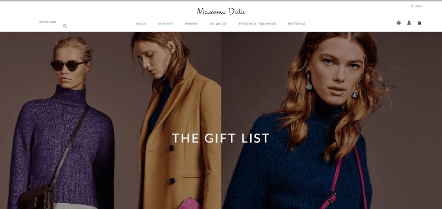 como navegar no site da Massimo Dutti