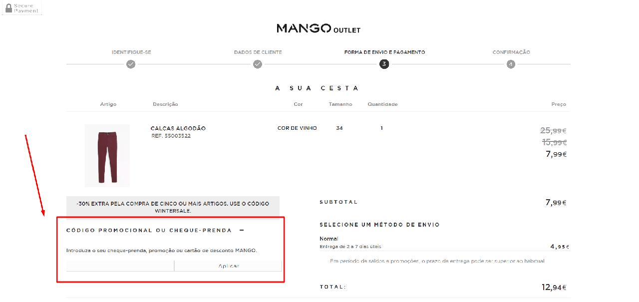 Como aplicar o código promocional Mango Outlet