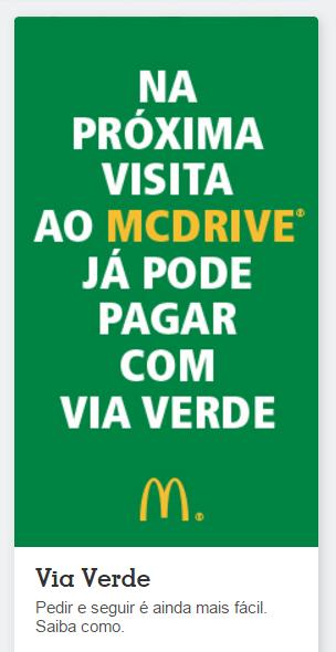 Já pode pagar com via verde no McDrive