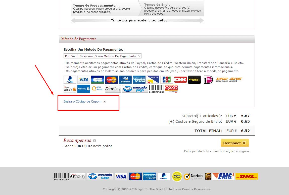 Como aplicar o código de cupão MiniInTheBox
